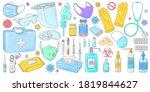 covid 19 doodles set.... | Shutterstock .eps vector #1819844627