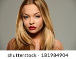 beautiful young woman with... | Shutterstock . vector #181984904