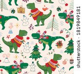 Dinosaur Rex Christmas Happy...