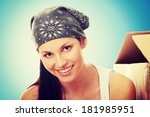 young beautiful woman with... | Shutterstock . vector #181985951