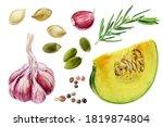 garlic rosemary pumpkin slice... | Shutterstock . vector #1819874804