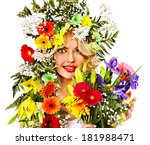 woman with hairstyle and flower.... | Shutterstock . vector #181988471