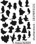 Ghost Black Silhouettes Vector...