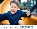 cute 3 year old boy excitedly... | Shutterstock . vector #181990121