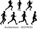 women running vector | Shutterstock .eps vector #18199033