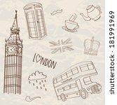 vector set of hand drawn london ...   Shutterstock .eps vector #181991969