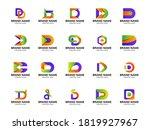 set of colorful d letter logo...