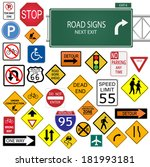 various road signs isolated on... | Shutterstock . vector #181993181