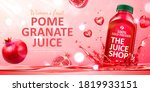 pomegranate juice ad in 3d... | Shutterstock .eps vector #1819933151