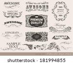 retro floral calligraphic... | Shutterstock . vector #181994855