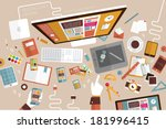 set of flat design icons.... | Shutterstock .eps vector #181996415