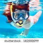 woman with mask snorkeling in... | Shutterstock . vector #182000099