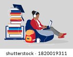 young student girl learns... | Shutterstock .eps vector #1820019311