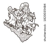 group of people hiker climbing... | Shutterstock .eps vector #1820035484