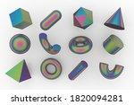 set of 3d render realistic... | Shutterstock . vector #1820094281