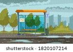 empty bus stop in rainy weather ... | Shutterstock .eps vector #1820107214