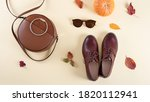 Round Leather Women Bag  Brown...
