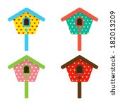 Colorful Birdhouses Vector...