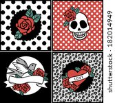 set of vector posters with... | Shutterstock .eps vector #182014949