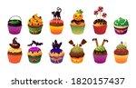 happy helloween scary cupcakes. ...   Shutterstock .eps vector #1820157437