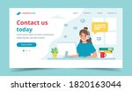 contact us landing page. woman...   Shutterstock .eps vector #1820163044