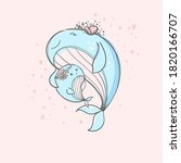 cute mama whale and baby whale... | Shutterstock .eps vector #1820166707