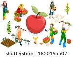 men on happy farm work smiling... | Shutterstock .eps vector #1820195507
