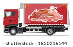truck car full of meat products....   Shutterstock .eps vector #1820216144