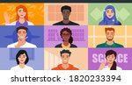 multicultural people video... | Shutterstock .eps vector #1820233394