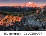 Mount Rainier Towers Over The...