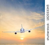 airplane is flying over the sea ... | Shutterstock . vector #182033345