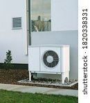 Small photo of Modern house of future with efficient heat pump reduce living cost concept