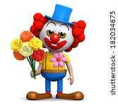 3d render of a clown with a... | Shutterstock . vector #182034875