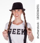 nerdy girl with geek t shirt - stock photo
