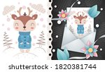 winter deer   idea for greeting ... | Shutterstock .eps vector #1820381744