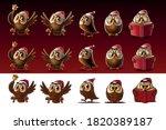 set of owls for christmas | Shutterstock .eps vector #1820389187