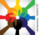group of hands taking pledge ... | Shutterstock .eps vector #182041757