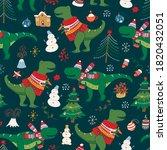 dinosaur t  rex  hristmas happy ... | Shutterstock .eps vector #1820432051
