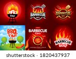 bbq 6 colorful poster designs ...   Shutterstock .eps vector #1820437937