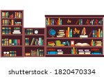 bookcase with colorful books in ... | Shutterstock .eps vector #1820470334