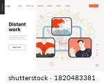business topics   distant work  ...   Shutterstock .eps vector #1820483381
