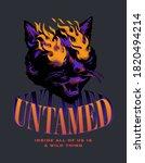 untamed cat slogan print design ... | Shutterstock .eps vector #1820494214