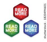 read more hexagon label set | Shutterstock .eps vector #1820494601