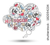 doodle speech bubble icon with... | Shutterstock . vector #182054234