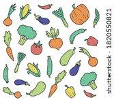 hand drawn set of vegetable... | Shutterstock .eps vector #1820550821