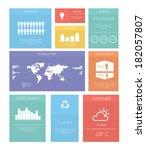 flat set design infographic... | Shutterstock .eps vector #182057807