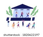 musical band performing on...   Shutterstock .eps vector #1820622197