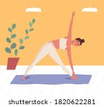smiling woman practicing body... | Shutterstock .eps vector #1820622281