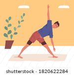 active man doing yoga exercise... | Shutterstock .eps vector #1820622284