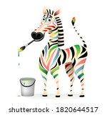 Positive Happy Colorful Zebra...